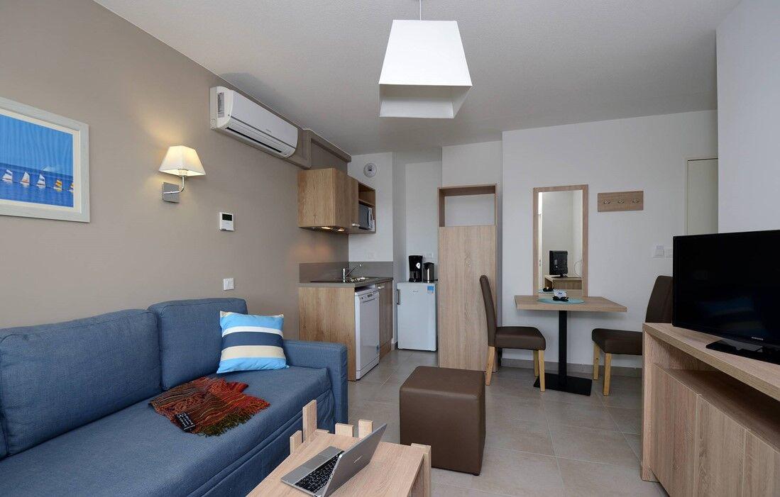 Port Barcarès - Résidence Odalys Le Lotus Blanc : Intérieur d'un logement
