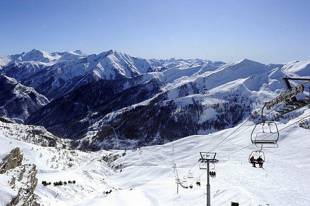 Le domaine skiable de Pra Loup en hiver