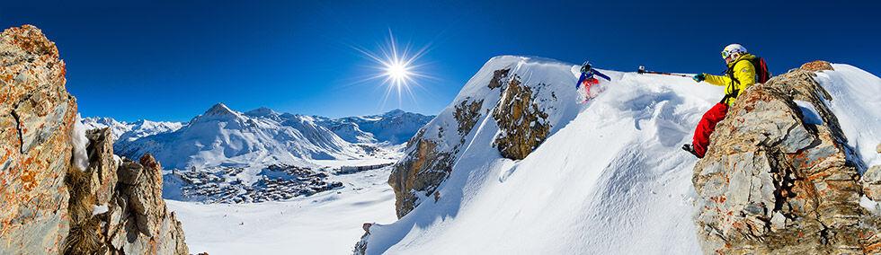 ski freeride dans les massifs de Tignes